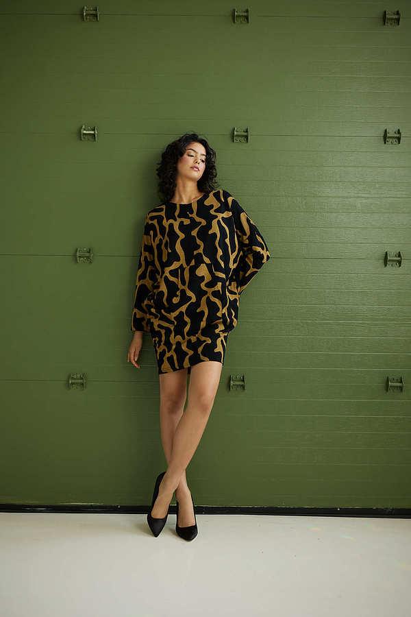 Joseph Ribkoff Abstract Printed Dress Style 214282. Black/Mustard