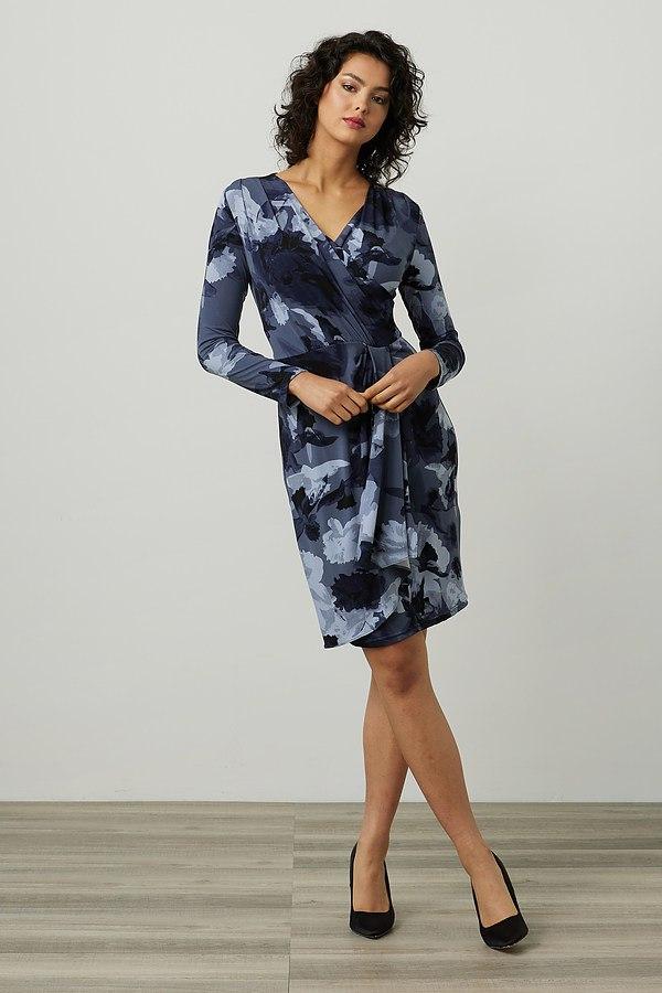 Joseph Ribkoff Abstract Print Dress Style 214292. Blue/Multi
