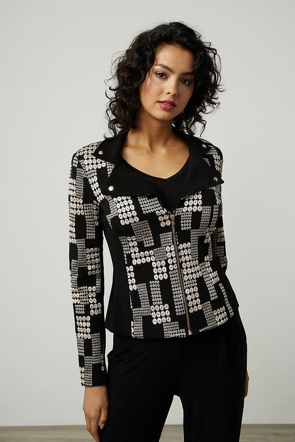 Joseph Ribkoff Printed Jacquard Jacket Style 214293. Black/Multi