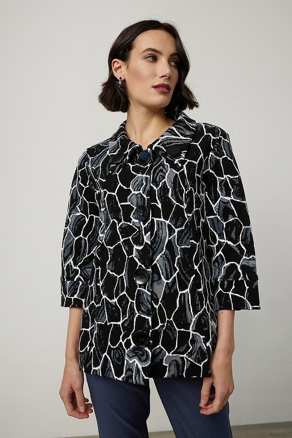 Joseph Ribkoff Abstract Print Jacket Style 214296. Black/Multi