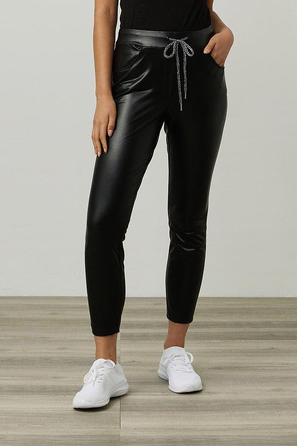 Joseph Ribkoff Leatherette Cropped Pants Style 214302. Black