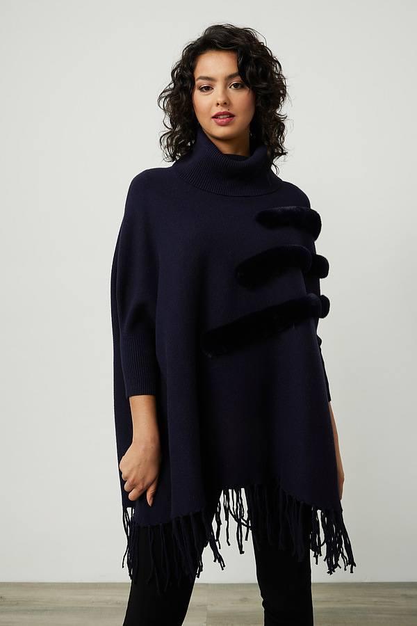 Joseph Ribkoff Faux Fur Poncho Style 214916. Midnight Blue