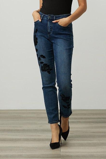 Joseph Ribkoff Floral Appliqué Jeans Style 214921