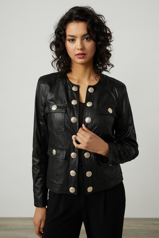 Joseph Ribkoff Faux Leather Cropped Jacket Style 214926 (black)