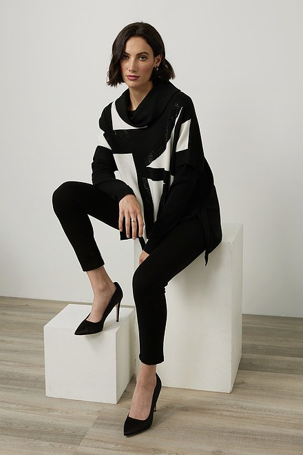 Joseph Ribkoff Geometric Jacquard Sweater Style 214930