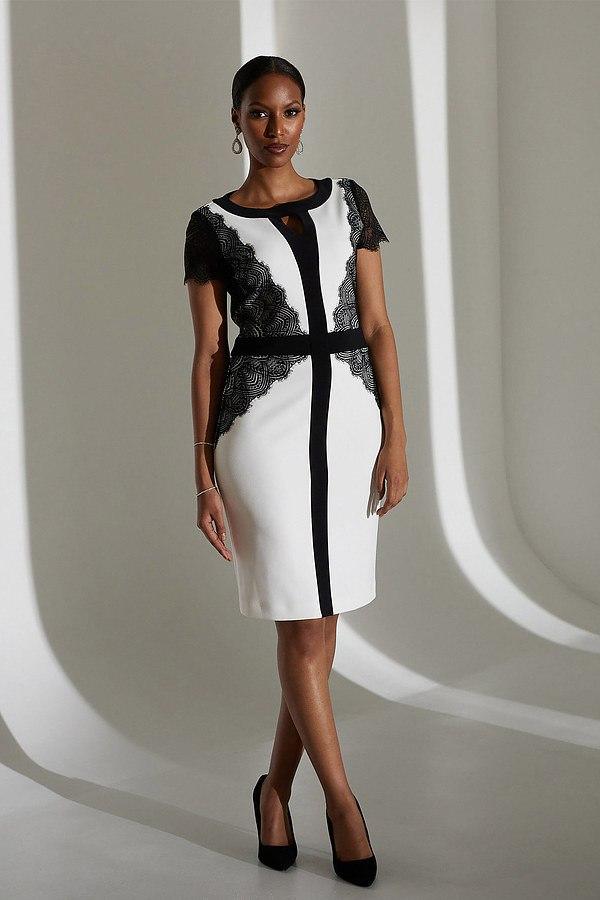 Joseph Ribkoff Lace Detail Dress Style 213118. Vanilla/Black
