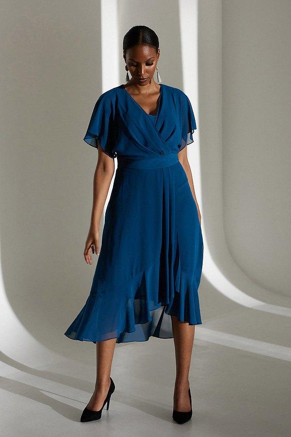 Joseph Ribkoff Wrap Chiffon Dress Style 213351. Peacock