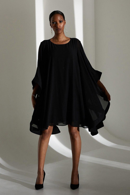 Joseph Ribkoff Cape Sleeve Dress Style 213709 (black)