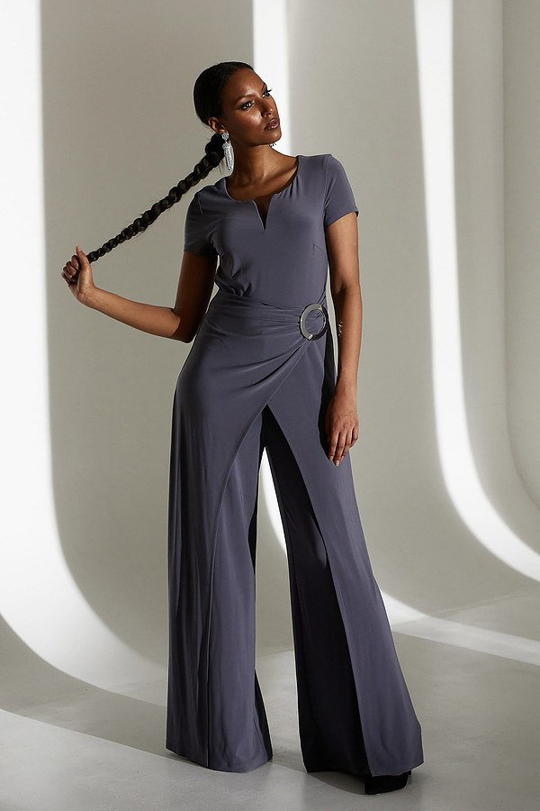 Joseph Ribkoff Belted Jumpsuit Style 213713. Granite