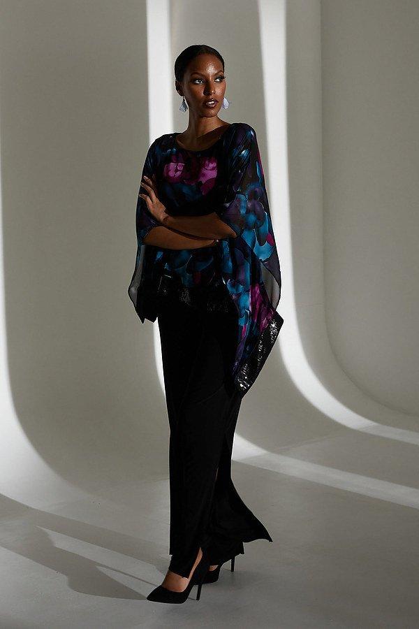 Joseph Ribkoff Floral Print Tunic Style 213716. Black/Multi