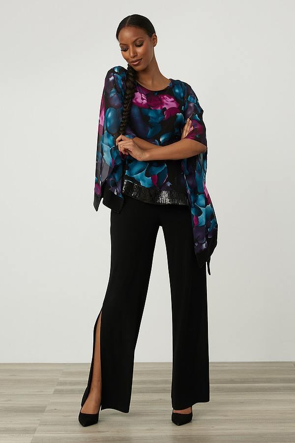 Joseph Ribkoff Wide Leg Slit Pants Style 213715. Black