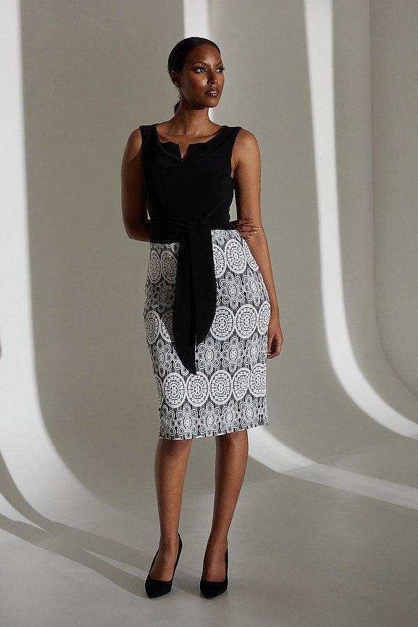 Joseph Ribkoff Lace Motif Dress Style 213717. Black/White