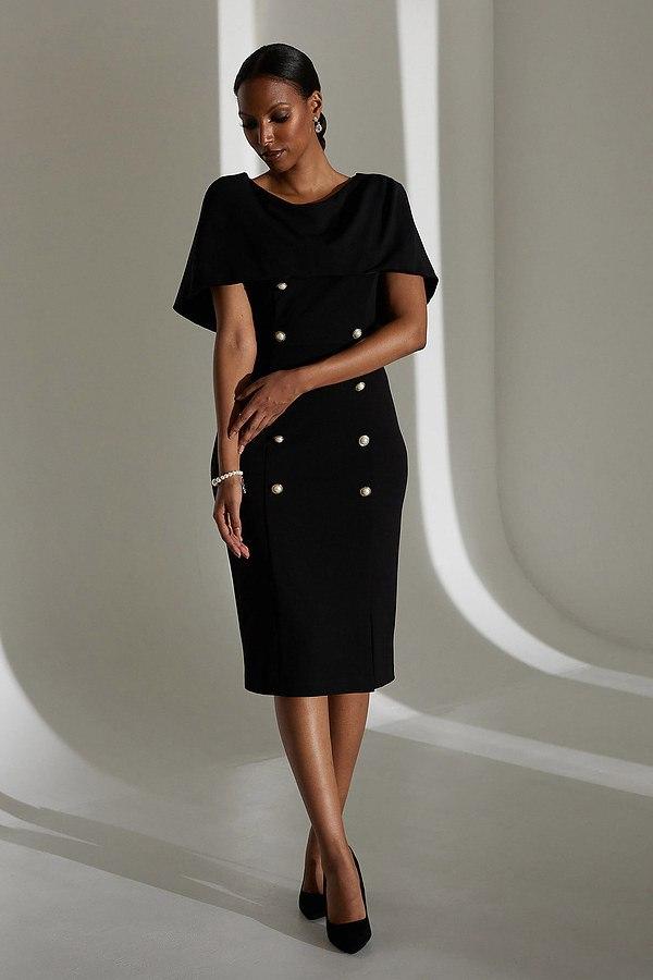 Joseph Ribkoff Overlay Double-Breasted Dress Style 213719. Black