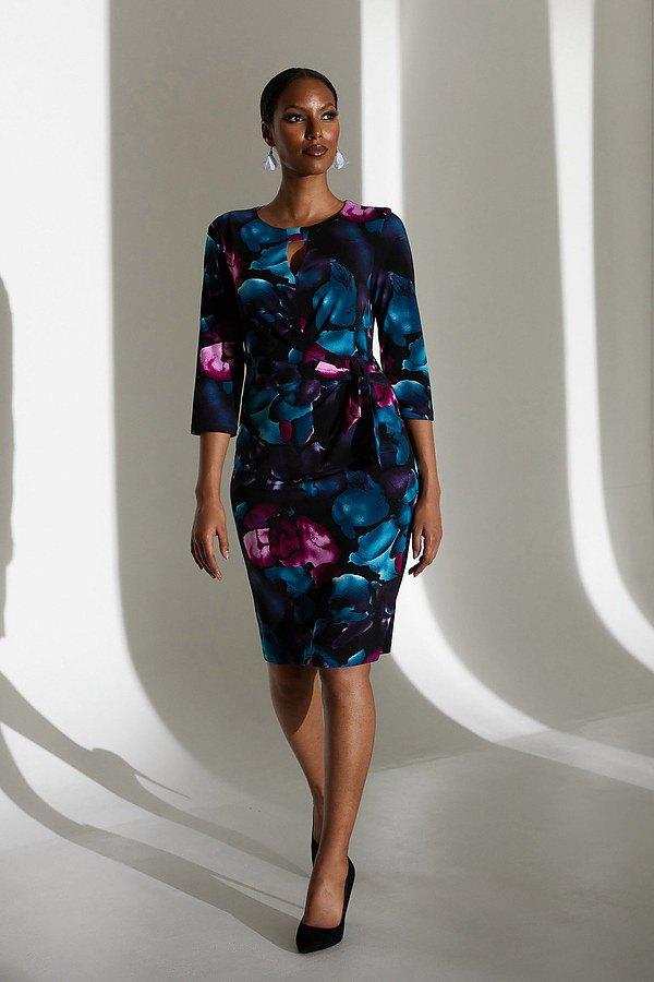 Joseph Ribkoff Floral Keyhole Neck Dress Style 213720. Black/Multi