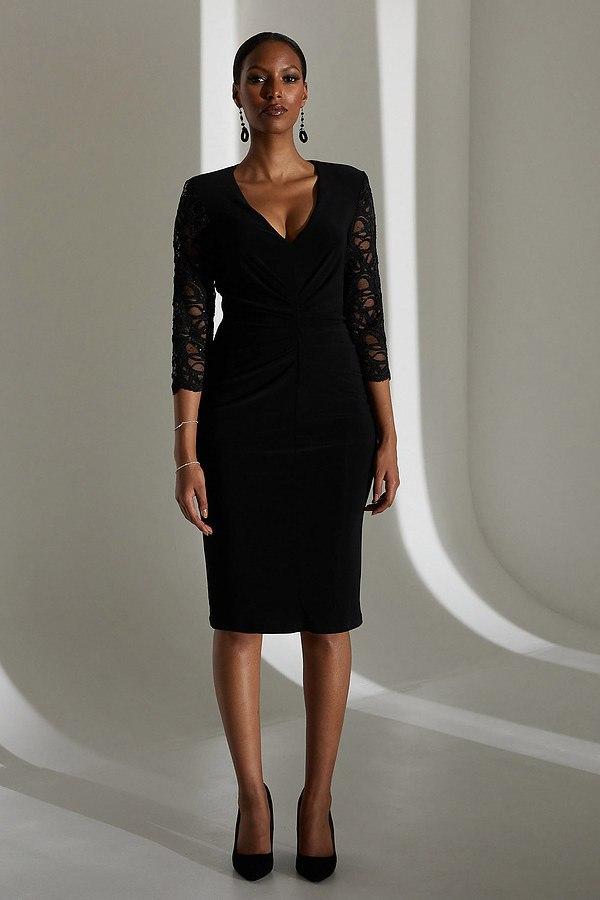 Joseph Ribkoff Lace Sleeve Dress Style 213721. Black