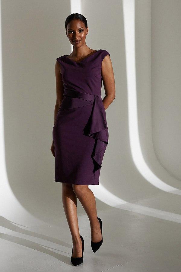 Joseph Ribkoff Draped Front Dress Style 213722. Amethyst