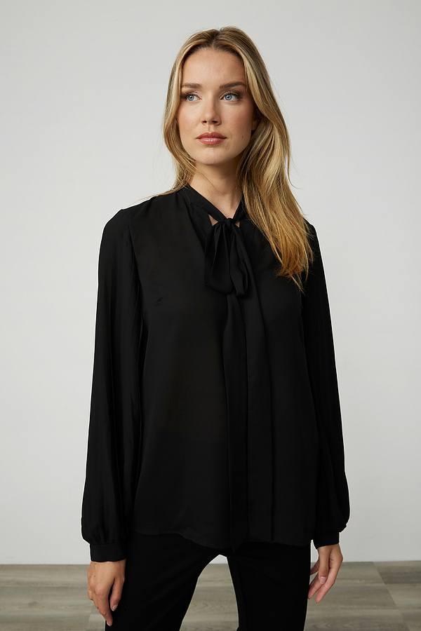 Joseph Ribkoff Neck-Tie Georgette Blouse Style 213332. Black