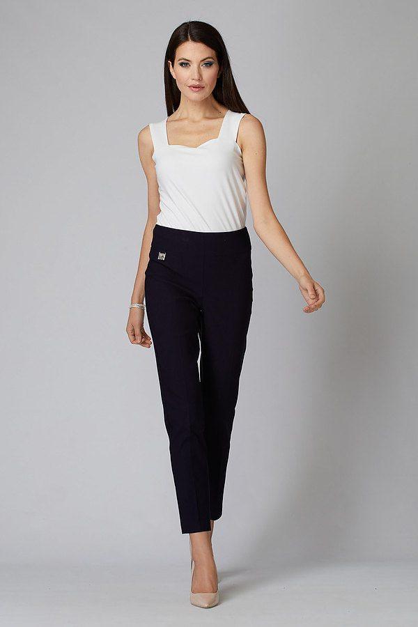 Joseph Ribkoff Pleated Cropped Pants Style 201483. Midnight Blue 40