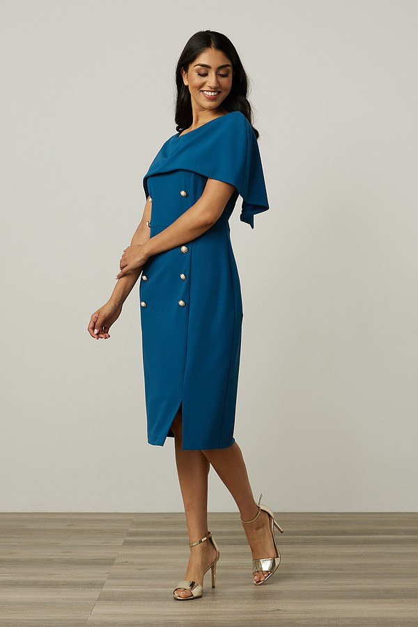 Joseph Ribkoff Overlay Double-Breasted Dress Style 213719. Peacock