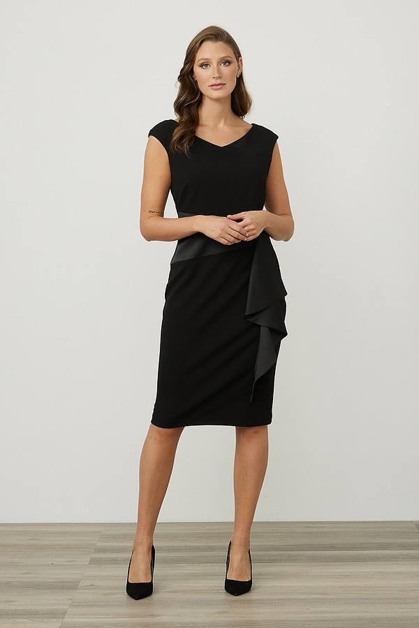 Joseph Ribkoff Draped Front Dress Style 213722. Black