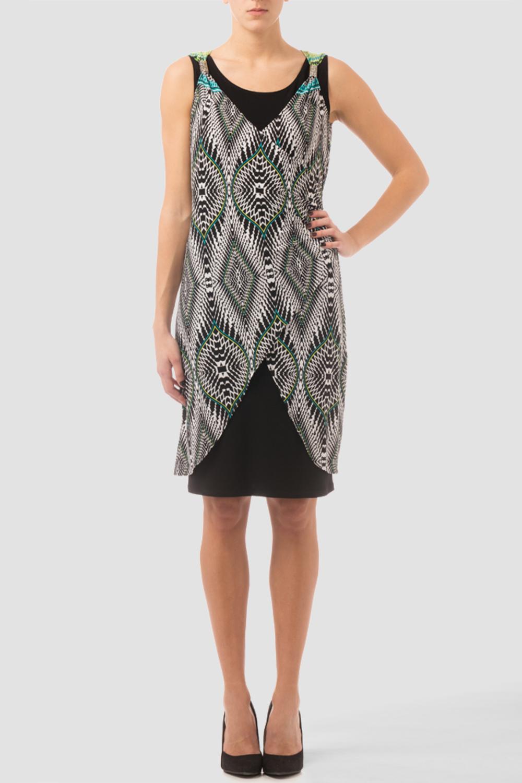 Joseph Ribkoff Black/White/Green Dresses Style 162661